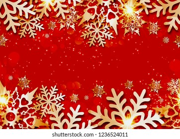 Vector Christmas seamless banner  with 3d snowflakes with shadows