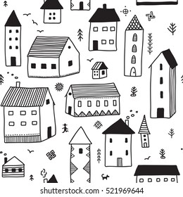 Vector christmas seamless pattern in ethnic boho style with ornaments and houses. Can be printed and used as wrapping paper, wallpaper, textile, fabric, etc.