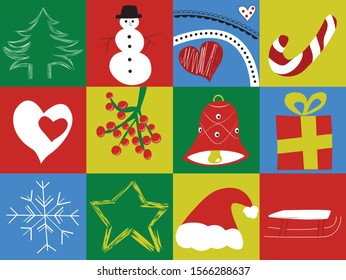 Vector Christmas seamless pattern with square decorations. Perfect for wallpaper, wrapping paper, pattern fill, winter greetings, greeting cards.