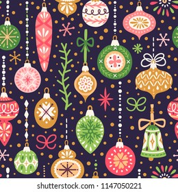Vector Christmas seamless pattern with vintage holiday ornaments. Repeated texture with retro christmas baubles. Vector print for fabrics, wrapping paper, textile design.