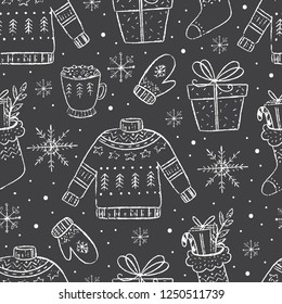 Vector Christmas season seamless pattern. Chalkboard effect. Holiday sweater, socks, mug, cute Christmas decorations. Scrapbooking, infographics.