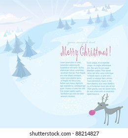 Vector Christmas series. Holiday greeting card with reindeer and frozen forest in the mountains.