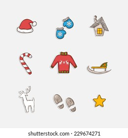 Vector Christmas set icons in doddle style with reindeer,sweater,snowflake,sleigh,candy,traces,house,mittens,hat