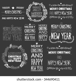 Vector Christmas set of labels or text for postcards