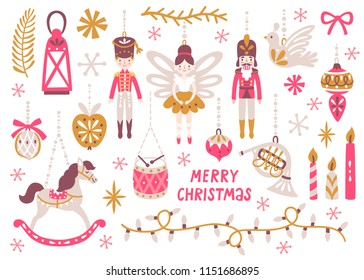 Vector Christmas set with nutcracker, princess, soldier, rocking horse, horn, drum and Christmas ornaments. Holiday collection with cute cartoon characters. Vintage Christmas toys and decoration.