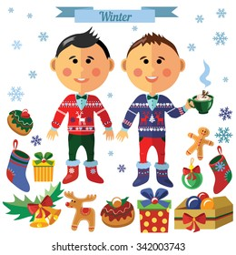 Vector Christmas set with two friends