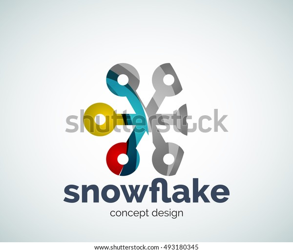 Vector Christmas snowflake logo template, abstract business icon