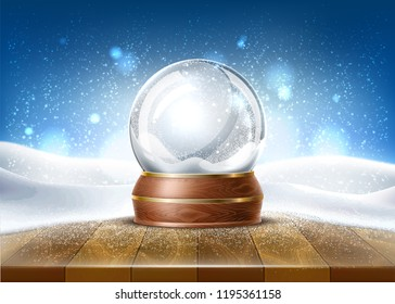 Vector christmas snowglobe on wood table on snowfalls background. Realistic traditional winter holiday decoration crystal with snow, snowflakes inside. Xmas magical toy, empty sphere, 3d illustration
