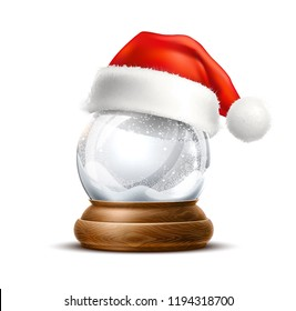 Vector christmas snowglobe with santa hat. Realistic traditional winter holiday decoration crystal with snow, snowflakes inside. Xmas magical toy, empty sphere, 3d illustration
