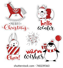 Vector Christmas sticker set. Funny labels set with cartoon Christmas characters such as penguin, horse, dog and rabbit.