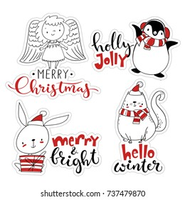 Vector Christmas sticker set. Label set with cartoon Christmas characters.