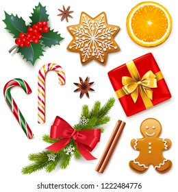 Vector Christmas Symbol Icons isolated on white background