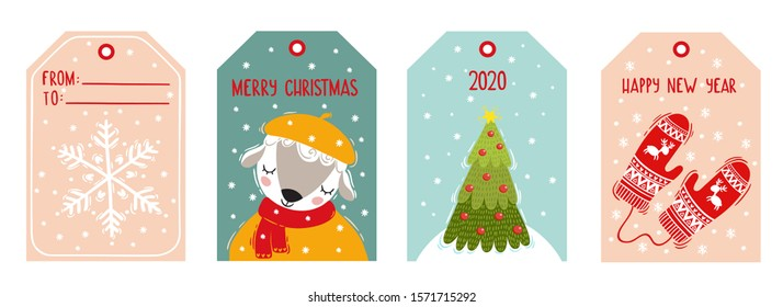 Vector Christmas tags set with hand drawn design elements. Vector illustration. A cute sheep, a christmas tree, knitted mittens, a snowflake