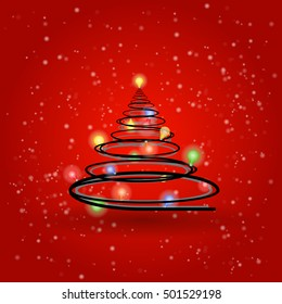 vector christmas tree with colorful bulbs, christmas tree concept