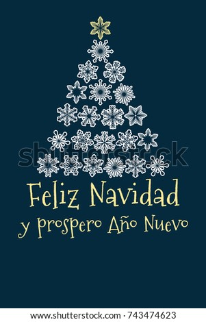 vector christmas tree created from snowflakes with spanish text merry christmas and happy new year - When Was Christmas Created