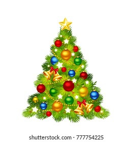 Vector Christmas tree decorated with colorful balls, bells and shining stars isolated on a white background.