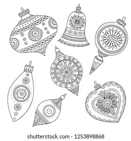 Vector Christmas tree decoration baubles line art in boho style wit ornament. Can be printed or used as coloring page, design template, sticker, icon, logo, card