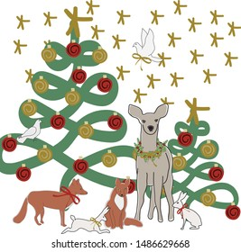 Vector Christmas Tree with Deer Fox Rabbits Doves and Stars Illustration