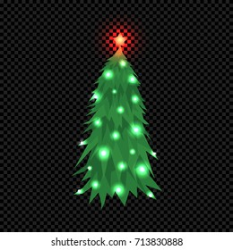 Vector Christmas Tree Isolated on Dark Transparent Background. Green Fir Tree with Star and Bright Shine Light Bulbs. Vector Illustration for Christmas or New Year.