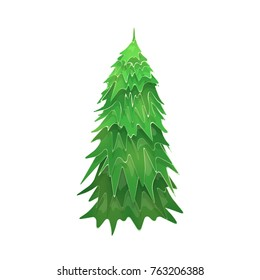 Vector Christmas Tree Isolated on White Background. Green Fir Tree. Vector Illustration for Christmas or New Year.