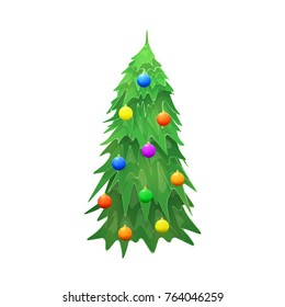 Vector Christmas Tree Isolated on White Background. Green Fir Tree with Light Bulbs. Vector Illustration for Christmas or New Year.