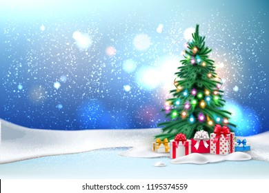 Vector christmas tree with christmas lights garland and present boxes under. New year holiday poster, banner background with ground with snowcaps, snowdrift snowfall night star sky blurred background.
