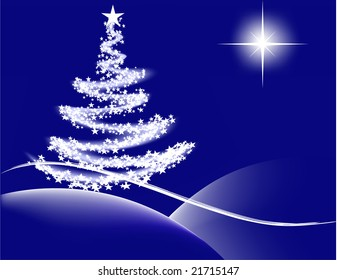 Vector- Christmas tree with lights and the star of Bethlehem