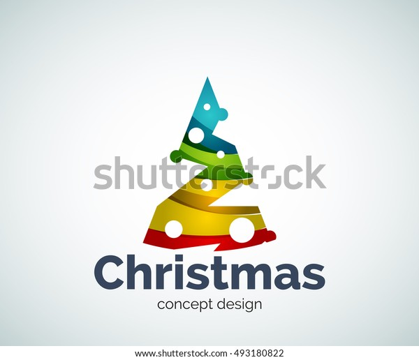 Vector Christmas tree logo template, abstract business icon