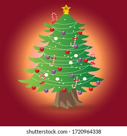 vector of a Christmas tree with ornaments of lights and stars
