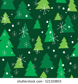 Vector christmas tree seamless pattern. Winter forest, pine trees and snowflakes Print for fabric, wrapping paper or wallpaper. Celebration new year pattern. Vector Christmas pattern.