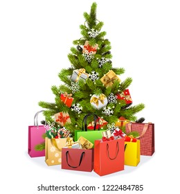 Vector Christmas Tree with Shopping Bags isolated on white background