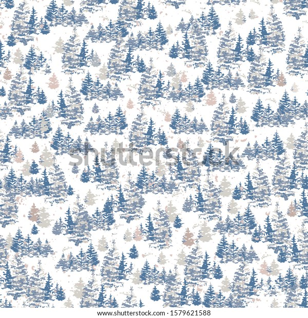 Vector Christmas trees forest seamless pattern, Holiday background