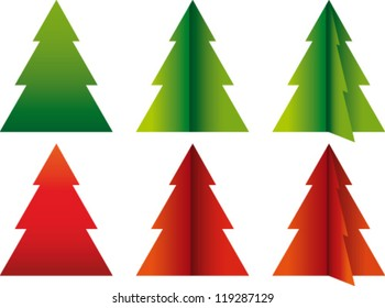 Vector christmas trees in red and green