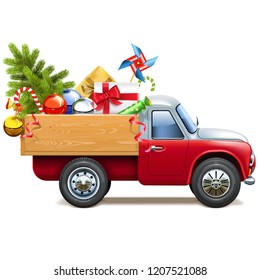 Vector Christmas Truck with Fir Tree isolated on white background