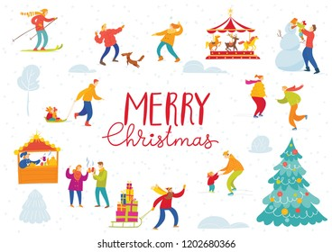 Vector Christmas winter card for holiday season with abstract people doing winter activities.
