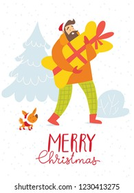 Vector Christmas winter card for holiday season with a shopping man and a dog