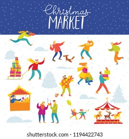 Vector Christmas winter poster for holiday season market with abstract bright people doing shopping and winter activities.