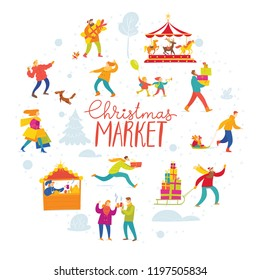 Vector Christmas winter poster for holiday season market with abstract people doing shopping and winter activities. Circle card with people.
