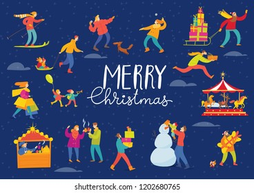 Vector Christmas winter poster night design for holiday season with abstract people doing shopping and winter sport activities.