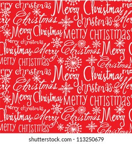 Vector Christmas words seamless pattern