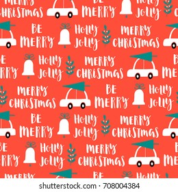 Vector Christmas words seamless pattern on red background.