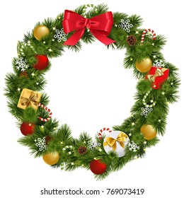 Vector Christmas Wreath with Garland isolated on white background