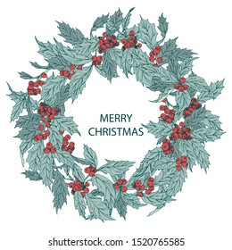 Vector christmas wreath with holly plant hand drawn circle background with ilex for greeting card