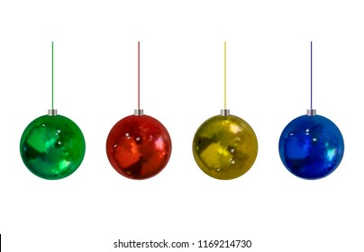Vector Christmass Balls Set, Isolated on White Background Realistic Holiday Decorations.