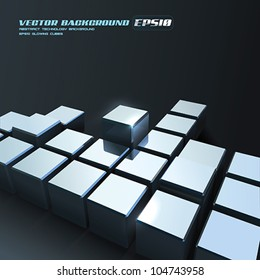 Vector Chrome Cubes Background