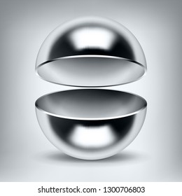 Vector chrome hollow sphere, open glossy metal ball, abstract object for you project design