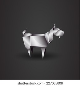 vector chrome origami goat
