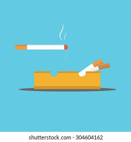 Vector of cigarette and Ashtray