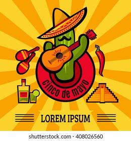 Vector Cinco De Mayo bright poster design with cactus. Cute cactus on sun rays background. Fiesta ad, card, invitation. Pyramid, tequila, cactus, guitar, peyote, sombrero, moustache, chili, maracas