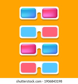Vector Cinema 3d glasses icons set isolated on orange background.  3d glasses logo or label collection